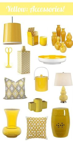 Home Decor Accessories ~ Love yellow accessories in the house for that pop of colour! Yellow Living Room Accessories, Home Decor Accessories, Decorative Accessories, Decorative Accents, Yellow Home Decor, Yellow Accents, Yellow Kitchen Accents, Mellow Yellow, Color Yellow