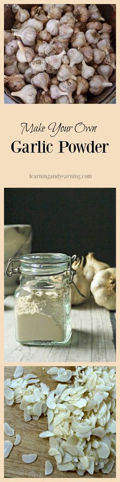 Making your own garlic powder is straight-forward and simple. It can be time consuming, but the right tools really help to make quick work of the task. Learn some other ways to preserve garlic, too! Homemade Spices, Homemade Seasonings, Food Storage, Pantry Storage, Barbacoa, Dehydrated Food, Dehydrator Recipes, Seasoning Mixes, Spice Mixes