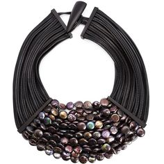 See this and similar Monies necklaces - Black leather and pearls multistrand necklace from Monies.