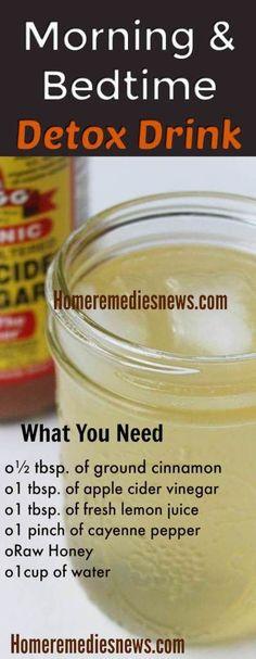 Homemade DIY Lemon Water Apple Cider Vinegar Detox Drink for Weight Loss #DetoxDietApple
