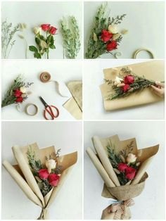 New Birthday Flowers Bouquet Gift Party Favors Ideas Flower Bouquet Diy, Bouquet Wrap, Gift Bouquet, Boquette Flowers, How To Wrap Flowers, Paper Flowers, Flowers Garden, Beautiful Flowers, Beautiful Pictures