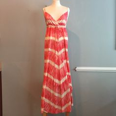 Pink and Cream Maxi Dress Flowy, pink and cream summer maxi dress. Dresses Maxi