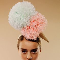 Beach prop - ice cream pom pom hat by Awon Golding