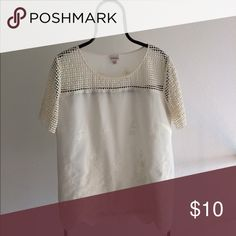 REDUCED Embroidered Woven Cotton Top Embroidered woven cotton top with scalloped hem and lace accented yoke and sleeves ~ all cotton ~ machine washable Merona Tops Blouses