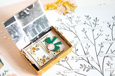 Cute Mini Scrapbook Album in a Box - Accordion Fold Style Mini Book Tutorial using Maggie Holmes new products - cute scrapbook ideas and tips for scrapbooks Mini Scrapbook Albums, Mini Albums, Scrapbook Pages, Cute Scrapbooks, Polka Dot Paper, Cute Box, Clear Stickers, Crate Paper, Vintage Stamps