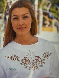 Romanian Point Lace crochet blouse insertion from Anna Burda magazine Irish Crochet, Crochet Lace, Crochet Blouse, Tatting Tutorial, Diy Tutorial, Hand Stiching, Romanian Lace, Lacemaking, Point Lace