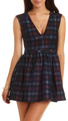 Sleeveless V-Neck Plaid Skater Dress ..would be better if it wasnt v shaped but crew