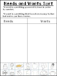 Grab this freebie today for WANTS and NEEDS   KinderLand ...