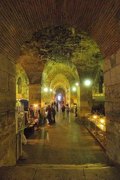 Underneath the Roman Palace built by Diocletian is an atmospheric Arts market; Split, Croatia