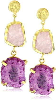Quartz drop earrings.