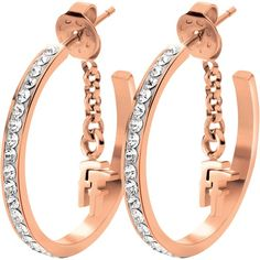Folli Follie Match & Dazzle Crystal Small Hoop Earrings, Rose Gold ($65) ❤ liked on Polyvore featuring jewelry, earrings, rose gold earrings, crystal stone jewelry, crystal jewellery, red gold jewelry and pink gold earrings