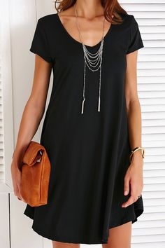 $15.08 Casual V-Neck Short Sleeve Solid Color Dress For Women - Black