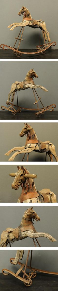 Antique Rocking horse - one rocking arm missing but a lovely display piece.I've always wanted to have an antique rocking horse, in my home. Maybe I will be blessed with one of beauties! Antique Rocking Horse, Vintage Horse, Vintage Dolls, Rocking Horses, Antique Toys, Vintage Antiques, Wooden Horse, Hobby Horse, Carousel Horses