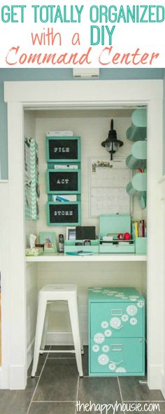 Get yourself totally organized with a DIY Command Center at thehappyhousie.com