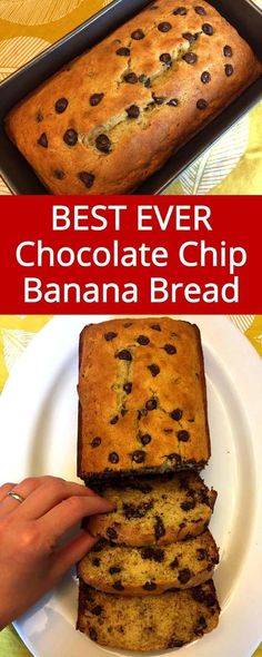 Who can resist this amazing chocolate chip banana bread? I love this chocolate c… Who can resist this amazing chocolate chip banana bread? I love this chocolate chip banana bread recipe, it's so easy and turns out perfect every time! Köstliche Desserts, Delicious Desserts, Dessert Recipes, Chocolate Banana Bread, Chocolate Chip Recipes, Chocolate Chips, Easy Banana Bread, Banana Bread Recipes, Blueberry Recipes
