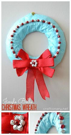 Jingle bells wreath, a DIY Christmas wreath tutorial for Holiday decoration. Make jingle bells wreath with a cute bow. Open the door with jingles of bells. Homemade Christmas Wreaths, Christmas Tree Crafts, Christmas Bells, Holiday Wreaths, Christmas Holidays, Christmas Recipes, Holiday Door Decorations, Holiday Decor, Christmas Door Hangings
