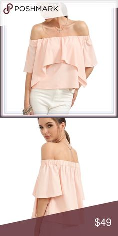 NWT Off The Shoulder Ruffle Top ➖NWT ➖SIZE: Small, Medium  ➖STYLE: A blush dusty pink short sleeve crop top with a large Ruffle layer.   ❌NO TRADE   324409 Tops Blouses