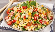 Veggie Couscous Salad with Harissa Dressing