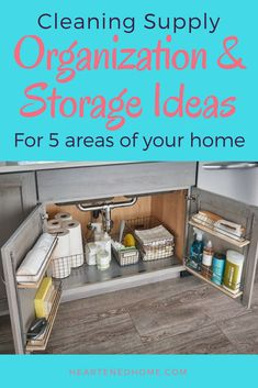 Ideas for decluttering, cleaning and organizing your cleaning closet or cabainets! Cleaning Supply Storage, Cleaning Closet, Storage Hacks, Cleaning Supplies, Organize Your Life, Organizing Your Home, Bathroom Organization, Storage Organization, Kitchen Hacks