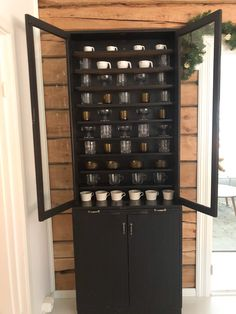 Black cabinet dining room, Wooden cabinet for glasses, Iittala glasses, Finnish glassware, Black cabinet with glass doors, Musta kaappi lasiovilla, Lasien säilytys