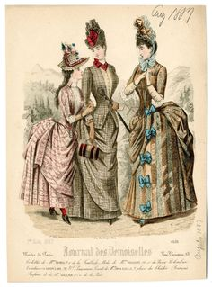 Journal des Demoiselles 1887 - I almost saw the trim on the skirt of the jacket of the middle dress as a pocket Victorian Era Fashion, 1880s Fashion, Victorian Costume, Steampunk Costume, Vintage Fashion, Vintage Gowns, Mode Vintage, Vintage Outfits, Gravure Illustration