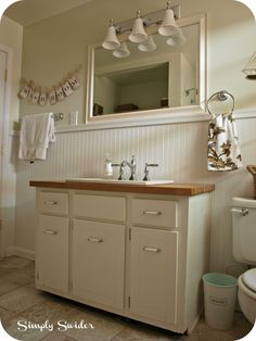 cottage bathroom @Rebecca Wright - some suggestions for covering up the small tiles on your floor