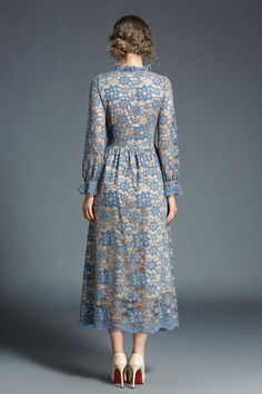 Интернет-магазин Ryseleco 2018 Women Long Elegant Hollow Out Cutout Floral Lace Dress Full Sleeve Fashion A-Line Spring Chic Flare Party Vestidos Trendy Dresses, Simple Dresses, Fashion Dresses, Floral Lace Dress, Blue Midi Dress, Womens Swing Dress, Street Style Chic, Robe Swing, Engagement Party Dresses
