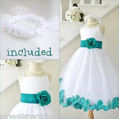 74e0e06e8b9 White teal jade green rose petals flower girl dress all sizes FREE HEADPIECE  in Clothing