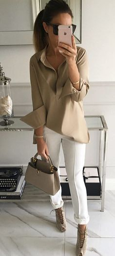 Amazing business style outfit blouse + pants + heels + bag