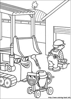 sprout character coloring pages | Bob the Builder and Scrambler Coloring Page – Bob the ...