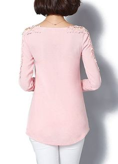 Split Neck Lace Panel Long Sleeve Curved Blouse on sale only US$24.79 now, buy cheap Split Neck Lace Panel Long Sleeve Curved Blouse at liligal.com
