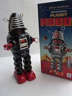 Wind-up Black Robby Robot~Vintage Reproduction Tin Toy