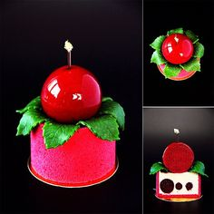 """«Individual cake """"Japanese cherry"""": japanese sponge cake; sour cherry jelly with bitter almonds; mousse with rosemary and white chocolate; cherry cremeux.…»"""