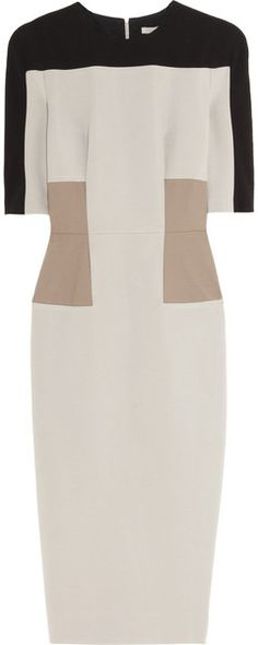VICTORIA BECKHAM ILLUSION Paneled Stretch-crepe Dress