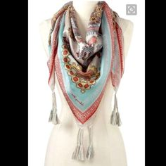 """Boho Chic designer Johnny Was silk scarf -$99! Large Designer Silk Scarf with tassels by Johnny Was -$99.00   43"""" X 43""""   I can steam this before sending. It was in my luggage. Worn only once!  Looks boho chic & can compliment a wide variety of outfits.   Selling for 50% off. :) Johnny Was Accessories Scarves & Wraps"""