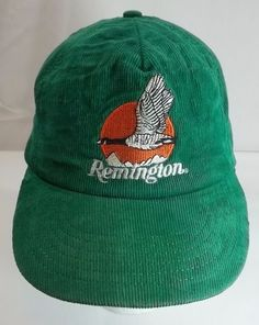 db040c2da54 Remington Vintage Cap Hat Green Corduroy Snapback Embroidered Logo   Remington  BaseballCap Hats For Men