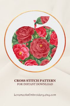 "This is a modern cross stitch pattern of ""Floral Apple"" for instantly downloadable after purchase, so you can start stitching right away! Embroider with pleasure and decorate your house with your beautiful works! Design 342. DMC colors: 20, 120 stitches wide x 128 stitches high"