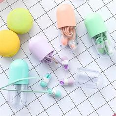 Chiclits Cute Pill Earphone In-ear Candy Color Girl Earphones Universal 3.5mm with Microphone for Phone Mp3 Gfit Student Kids #Affiliate