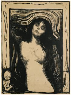 EDVARD MUNCH 1863 - 1944 MADONNA (W. 39; SCH. 33) Lithograph, 1895-1902, a very rich, fine impression of Woll's first state (of five), on fine wove paper mounted on thin card, framed image: 602 by 443mm 23¾ by 17½in sheet: 626 by 466mm 24 5/8 by 18 3/8 in