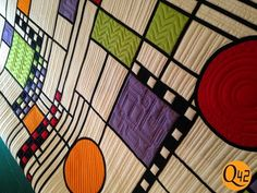 Frank Lloyd Wright inspired quilt titled Happy42