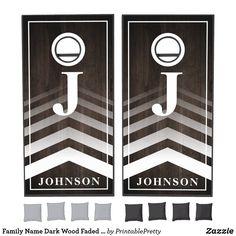 Family Name Dark Wood Faded Chevron Monogram Cornhole Set Custom Cornhole Boards, Cornhole Set, Johnson Family, Johnson And Johnson, Cross Beam, Chevron Monogram, Epic Games, School Colors, Dark Wood