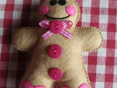 Gingerbread Man Christmas Ornament...Pink Hearts