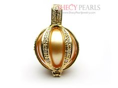 golden south sea pearl pendant --- lantern