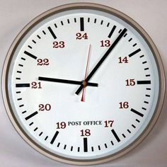 Original 1970s Large White Faced Post Office Industrial Wall Clock, Battery.