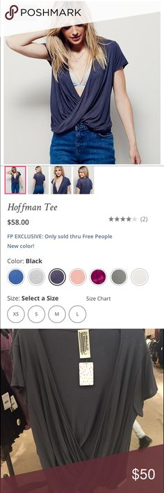 """NWT Free People Hoffman Tee! NWT Free People Hoffman Tee! Brand new with tags! Size medium! color is """"black"""" according to free people, but looks more dark grey in person (as seen in photo) Free People Tops"""