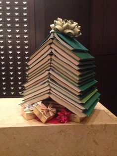 One of our custom book Christmas trees for Library Hotel in NYC. (photo credit Library Hotel)