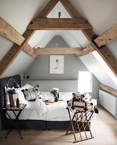 So pretty! Rustic loft bedroom with boho details