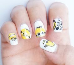Despicable Me - Minion Nail Art Design. Inspired by   The Nail Art Show https://thenailartshow.wordpress.com/2013/07/13/despicable-me-2/  Banicured https://instagram.com/p/5AecxqMCUF/  Janelle Estep  https://www.youtube.com/watch?v=01AW4gY9ve0
