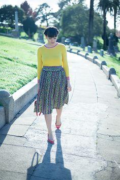 lauren moffatt sweater + skirt, j.crew bag