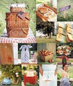 Picnic baskets, red checkered table cloth, floral table fabri.